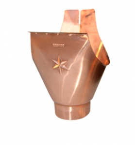 Americraft Copper Star Outlet For Half Round Gutters