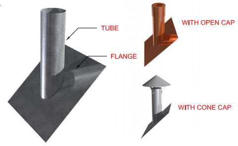Sloped Roof Metal Flange Tube